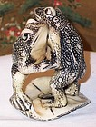 Vintage Japanese Ivory Netsuke Frogs Wrestling 20thC