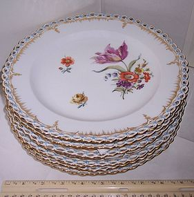 "Antique KPM Berlin Porcelain 9 3/4"" Floral Plates"