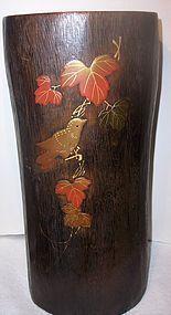 Antique Japanese Lacquer Wood Folk Art Vase