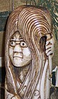 "Antique Funny Japanese Meiji Antler Netsuke Daruma 4+"""