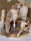"Intricate Japanese Tiny Ivory Netsuke Horse 1 1/4""c1900"