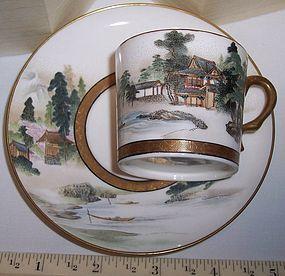 Antique Japanese Satsuma Cup & Saucer Kinkozan