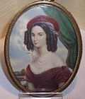 Antique Miniature Ivory Portrait Lady Sgnd Dumas