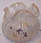 "Mont Joye 5"" Cameo Enameled Art Glass Vase Violets"