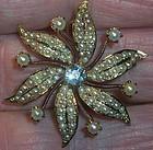 Victorian 14k Gold Sun Burst Pearl Brooch Pin Lavalier