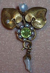Art Nouveau 14k Gold Lavalier Pin Pendant Pearl Lily