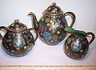 Japanese Cloisonne Enamel Takahara Tea Pot Bowl Pitcher