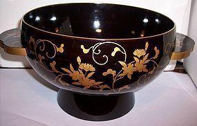 Japanese Black Gold Lacquer Bowl c1920