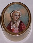 Antique French Miniature Painting Ivory Trinket Box