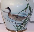 Fine Japanese Meiji Cloisonne Enamel Vase with Duck