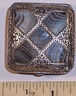 Antique English Sterling Silver Pill Box Inlaid Agate 1908