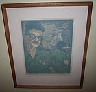 James D Havens Wood Block Print Done with Mirrors 1951