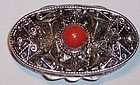 Vintage Continental Silver 800 Italian Pill Box Red Coral Stone