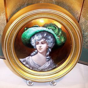 Framed French Limoges Enamel Plaque Beautiful Lady c1890