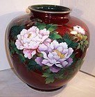 Lg Japanese Red Cloisonne Enamel Pigeon Blood Vase Basse Taille Peony