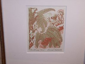 James D Havens Wood Cut Print Christmas Fern Nuthatch Bird Snow