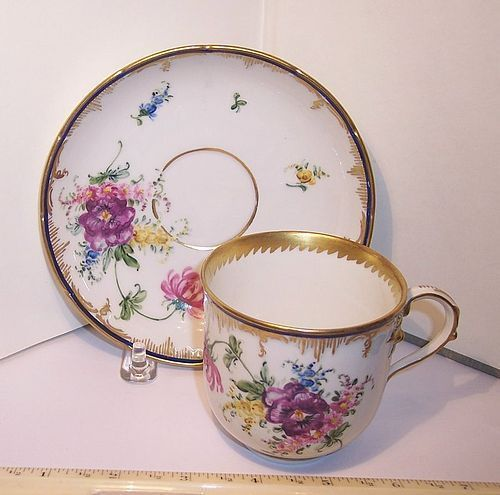 Antique KPM Germany Porcelain China Hand Painted Cup & Saucer