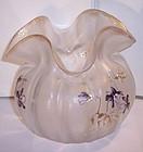 Antique Fine Crystal Mont Joye Enameled Cameo Art Glass Vase Violets