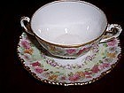 Set 8 Elite Limoges China Soup Bowl Cup & Saucer Mums
