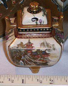Fine Antique Miniature Japanese Satsuma Incense Jar