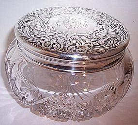 Antique Sterling Cut Glass Powder Vanity Dresser Box Jar Art Nouveau