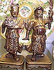 Pair Chinese Gilt Wood Guardian Figurines 19th Century