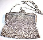 Sterling Silver Mesh Coin Purse with Chain, c.1920