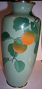 Japanese Cloisonne Vase with Persimmons Signed Ando