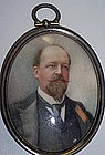 Miniature Portrait Painting on Ivory Gentleman Signed