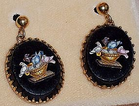 Victorian Micromosaic Pietra Dura Gold Earrings Doves