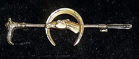 Fine Victorian 14k Gold Equestrian Riding Crop Bar Pin