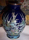 Meiji Japanese Cloisonne Enamel Cabinet Vase Iris Flora