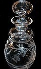 Fine American Cut Glass Perfume Bottle Engraved Thistle