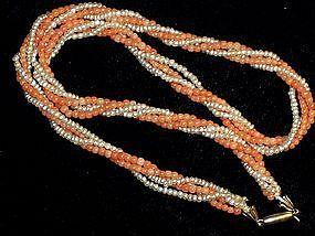 VICTORIAN CORAL, SEED PEARL, GOLD CLASP NECKLACE