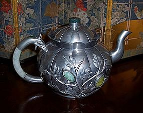 Chinese Pewter Tea Pot 1900 Jade, Stone Cabochons