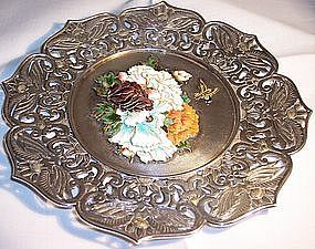 "Japanese Sterling Cloisonne Gold Wire 6"" Floral Tray"
