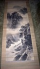 Japanese Scroll Painting Misty River Scene