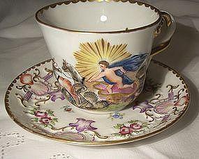 Antique Italian Porcelain Capodemonti Ginori Cup & Saucer