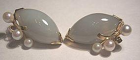 Vintage Jade Pearl 14k Gold Clip Earrings