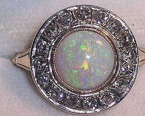 Victorian 14k Australian Opal & Diamond Ring