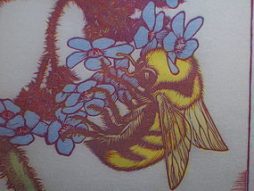 "Woodblock Print ""Bombus on Anchusa"" James Dexter Havens 1938"