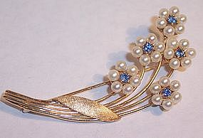 Fine Ladies 14K Gold Brooch Pin Sapphires Pearls