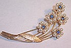 Fine Ladies 14K Gold Brooch Pin Sapphires Pearls