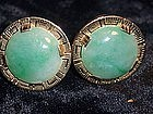 Fine 14K Solid Gold & Jade Cufflinks Signed Ming's