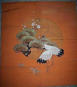 Antique Japanese Fukusa Tapistry 3 Friends Cranes