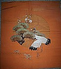 Antique Japanese Fukusa Tapistry 3 Friends Cranes
