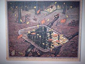 """James D. Havens """"Barrow-Fall"""" Woodblock Print 1953"""