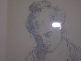Rare Antique Pencil Drawing of Woman by Charles Gruppe
