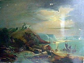 ANTIQUE OIL ON CANVAS CASTLE BY THE SEA MOONLIT NIGHT