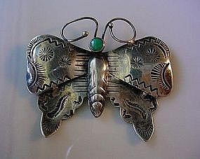 OUTSTANDING NATIVE AMERICAN STERLING BUTTERFLY PIN